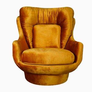 Yellow Velvet Lounge Chair, 1950s