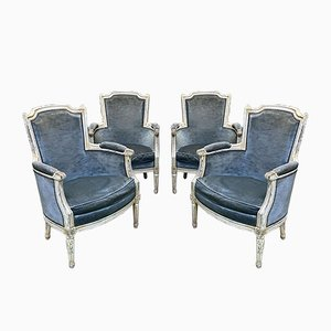 Vintage Louis XVI Armchairs, Set of 4