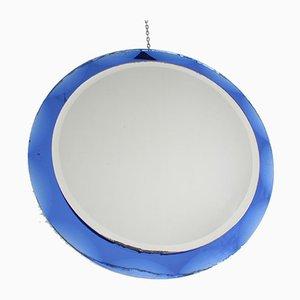 20th Century Round Blue Framed Italian Mirror from Metalvetro Siena, 1974