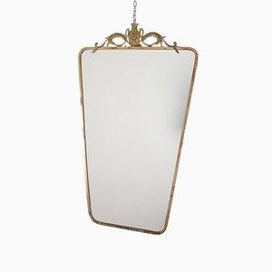 Art Deco Italian Brass Wall Mirror in the style of Pier Luigi, 1950s