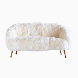 White Sheepskin and Beech Sofa by Ragnar Helsen for AB Stjernmöbler, 1956
