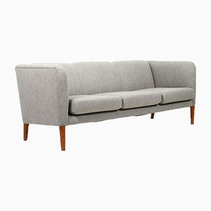 Danish 3-Seater Sofa in Grey Fabric with Teak Legs, 1950s