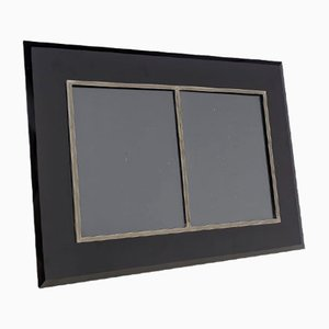 Rechteckiger doppelter Bilderrahmen aus schwarzem Glas & silbernem Metall, 1970er