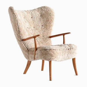 Pragh Wingback Chair in Sheepskin by Acton Schubell & Ib Madsen, 1950s