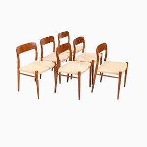Chaises de Salon Modèle 75 par Niels Otto Møller pour JL Møllers, Danemark, 1960s, Set de 6