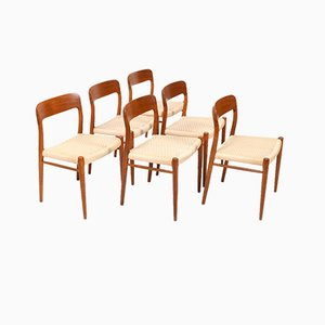 Danish Model 75 Dining Chairs by Niels Otto Møller for J.L. Møllers, 1960s, Set of 6