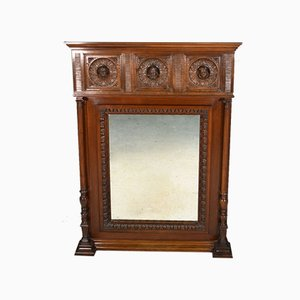 Antique French Mahogany Overmantel Mirror