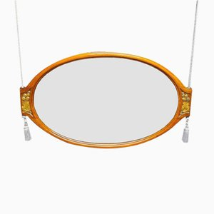 Art Deco Oval Mirror in Carved Mahogany