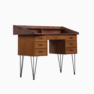 Scandinavian Modern Geometrical Custom Teak Desk with Drawers, 1970s