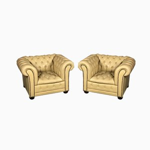 Club chair Chesterfield vintage in pelle gialla, set di 2