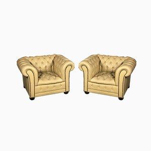 Vintage gelbe Leder Chesterfield Club Stühle, 2er-Set