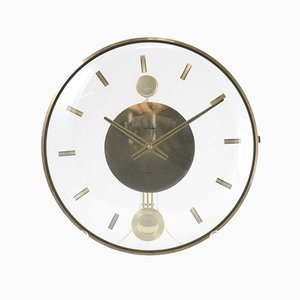 Vintage Acrylic and Brass Wall Clock, 1960's