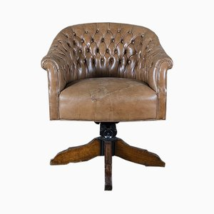 Leather Lounge Chair, 1930s