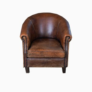 Round Victorian Club Chair, 1950s