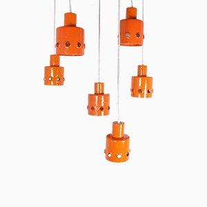 Emaillierte orangefarbene Deckenlampe mit 6 Leuchten von Pedit, 1960er