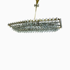 Large Austrian Crystal Glass Chandelier by Oswald Haerdtl for Lobmeyr, 1950s