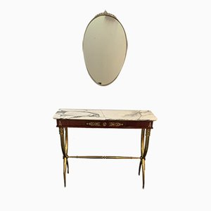 Mahogany Console Table with Brass Base & Mirror, 1950s, Set of 2