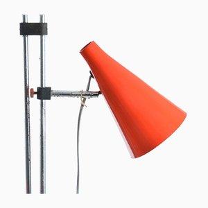 Hohe Stehlampe aus rotem Metall & Chrom von Josef Hurka für Lidokov, 1960er