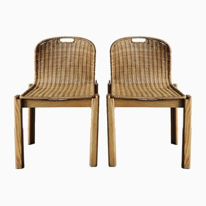 Italian Wicker Dining Chairs, 1960s, Set of 2