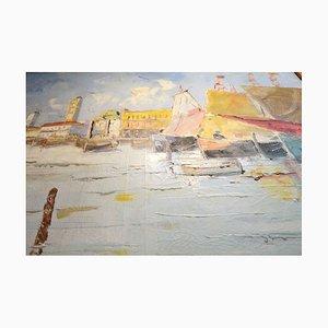 Escena de Venecia, Desconocida, década de 1910, óleo sobre lienzo.