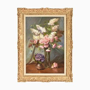 Carnations and Lilac Flowers Still Life, 20th-Century, Oil On Canvas