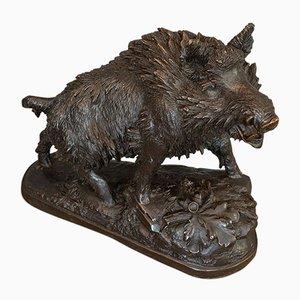 Grande Sculpture de Sanglier Vintage en Bronze