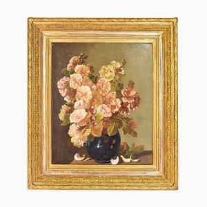 Peinture Fleurs Roses, Nature Morte, 19ème Siècle