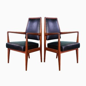 Mid-Century Danish Leather Side Chairs, 1960s, Set of 2