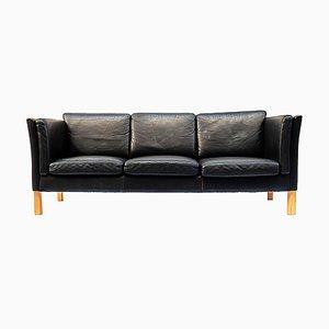 Danish Black Leather 3-Seat Sofa, 1970s