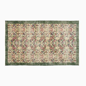 Vintage Turkish Green and Beige Floral Rug