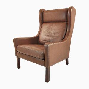 Mid-Century Danish Brown Leather HIgh Armchair, 1960s