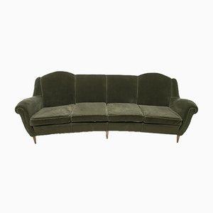 Mid-Century Italian Modern Curved Velvet Sofa, 1950s