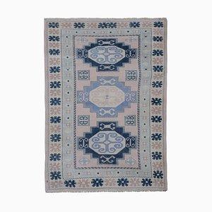 Blauer türkischer Vintage Kars Teppich, 1970er