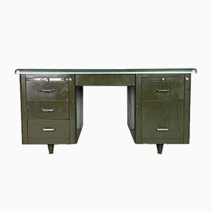 Vintage Industrial Steel Double Pedestal Desk, 1930s