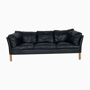 Black 3-Seater Leather Sofa from Stouby, 1970s