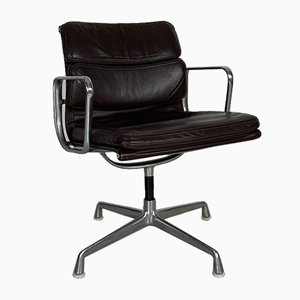 Vintage Dark Brown Leather Soft Pad Group Chair by Charles & Ray Eames for Herman Miller, 1980s