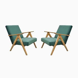 Model B 310 Var Green Velvet Armchairs, 1960s, Set of 2
