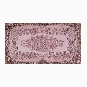 Floraler Türkischer Vintage Teppich in Rosa