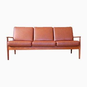Mid-Century Danish Teak & Leather Sofa by Grete Jalk for Cado, 1960s