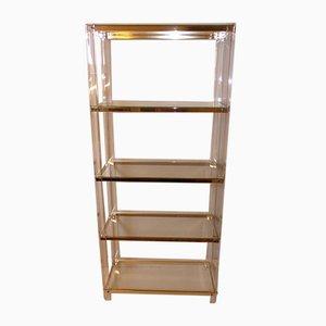 Lucite, Acrylic & Brass Glass Shelf