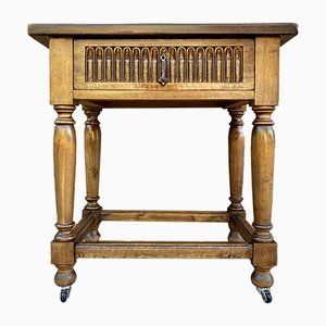French Walnut Side Table with Drawer, Carved Arches and Column Legs with Wheels, 1890s
