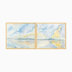 Helga Müller, Blue Hour, 1990, Acryl auf Papier