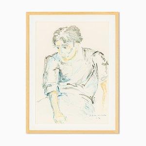 Helga Müller, Junger Mann sitzend, 1997, Acryl auf Papier