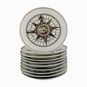 Royal Copenhagen Decorative Plates with Compasses, 1970s, Set of 10