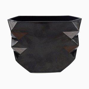 Vase in Black Glazed Ceramics by Malene Müllertz, Denmark, 1985