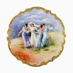 Large Antique Dish in Hand Painted Porcelain with Dancing Women, Limoges, France