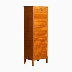 Swedish Upright Oak Tambour Filing Cabinet by Olof Lundqvist, 1950s