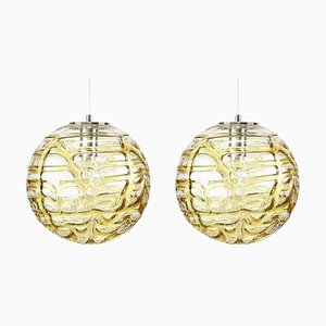 Murano Glass Pendant Lights in the Style of Venini, 1960s, Set of 2