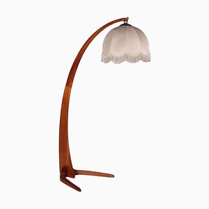 Lamp in Stained Beech and Fabric, Italy, 1940s