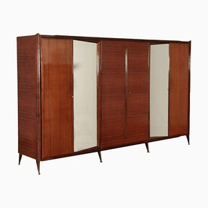 Wardrobe in Veneered Wood, Mirrored Glass & Brass, Italy, 1960s
